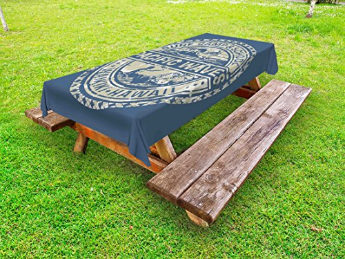 Ambesonne Modern Outdoor Tablecloth, Pacific Waves Surf Camp and School Hawaii Logo Motif with Artsy Effects Design, Decorative Washable Picnic Table Cloth, 58 X 120 Inches, Khaki Slate Blue (Waves Surf Camp)