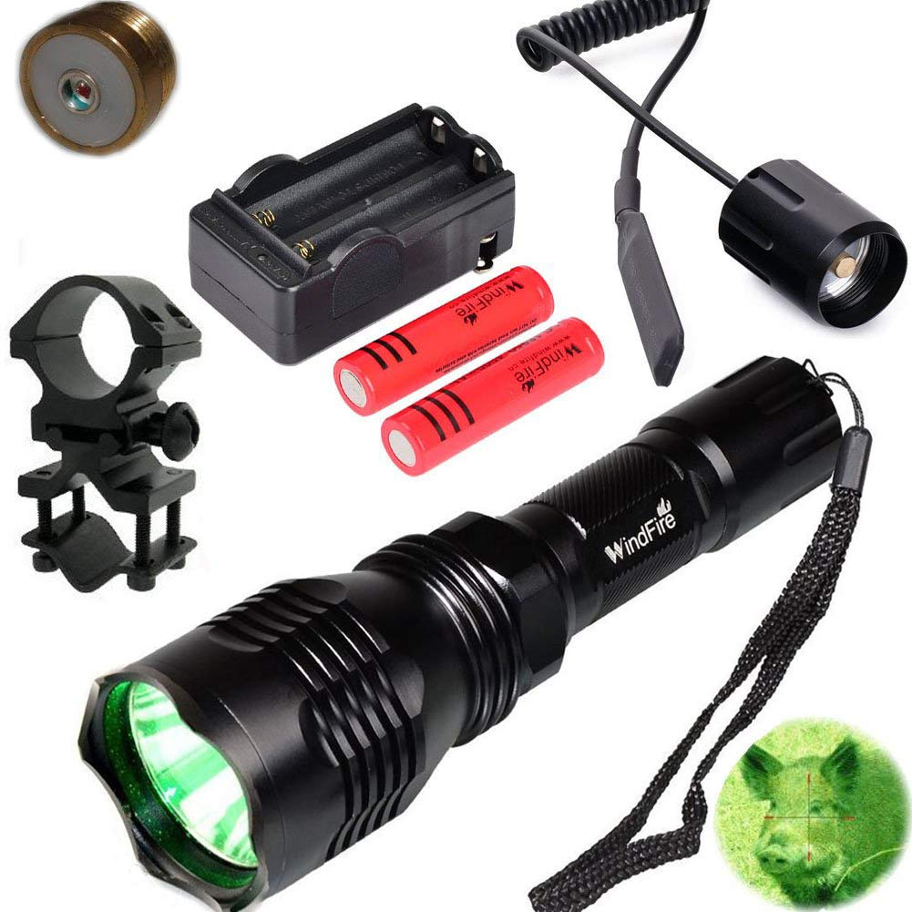 WindFire Waterproof 350 Lumens 250 Yards Green LED Coyote Hog Fox Predator Varmint Hunting Flashlight with Red Light LED Bulb Module Pressure Switch & Barrel Mount & Spare 18650 Battery and Charger by WINDFIRE