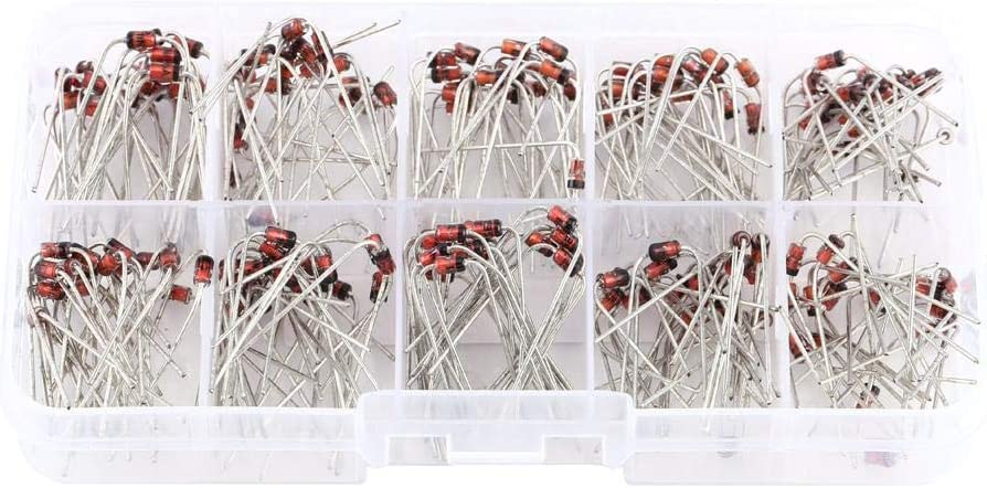 TOPINCN Diode Set 10Values Zener Diode Surtido Alternadores Generadores Diodos Kit Electrónico 1N4728~1N4737 con Caja de Almacenamiento 200pcs