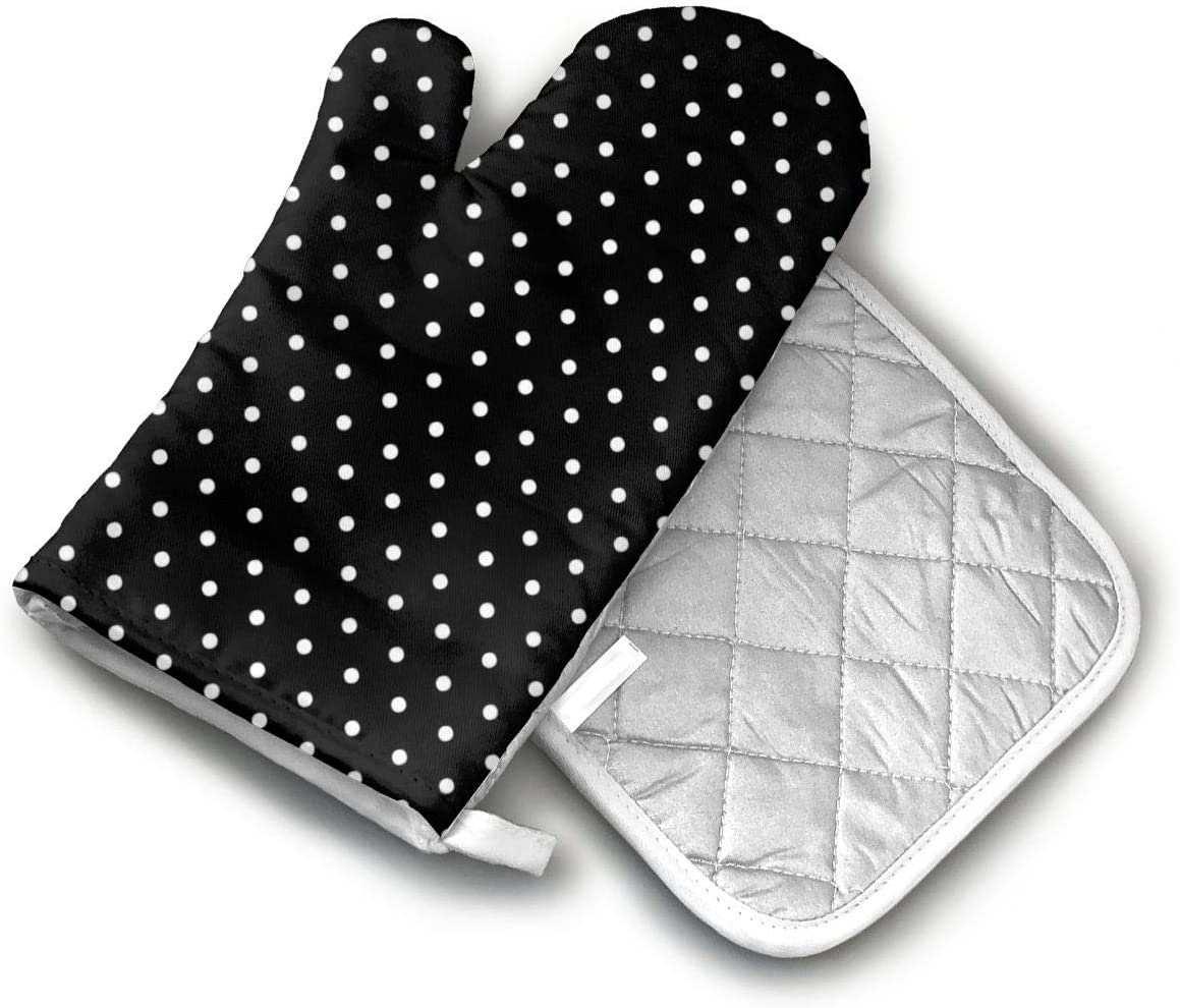 AISDHAJKSD Black and White Polka Dots Premium Terylene/Nylon Oven Mitts and Pot Mat,Pot Mat/Hot Pads, Heat Resistant Gloves BBQ Kitchen