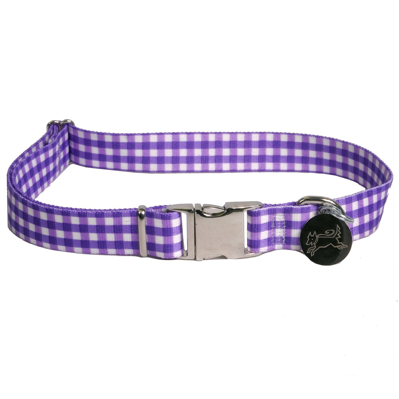 Southern Dawg Gingham Purple Premium Dog Collar - Size Medium 14'' - 20'' by Yellow Dog Design