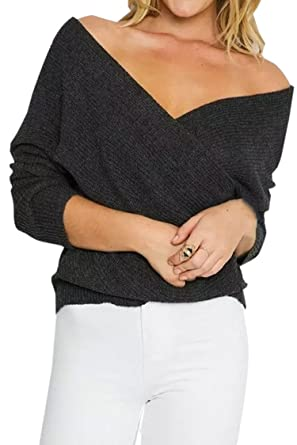 Women's Sexy V Neck Off Shoulder Crisscross Wrap Knit Pullover ...