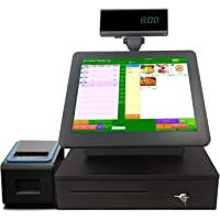 "All In One POS System Cash Register including 15"" Touch Screen PC, POS Software, Receipt Printer, Cash Drawer for Retail, Inventory, Supermarket, Grocery, Restaurant, Club, Fast food, Café, Convenience, Pharmacy, Clothing Store"