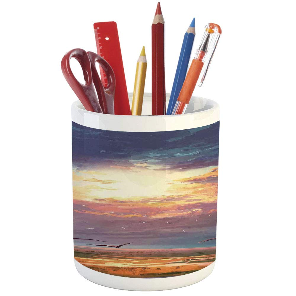 Pencil pen holderfantasy art house decorprinted ceramic pencil pen holder for desk office accessoryman alone under vibrant reflections of galaxy planets