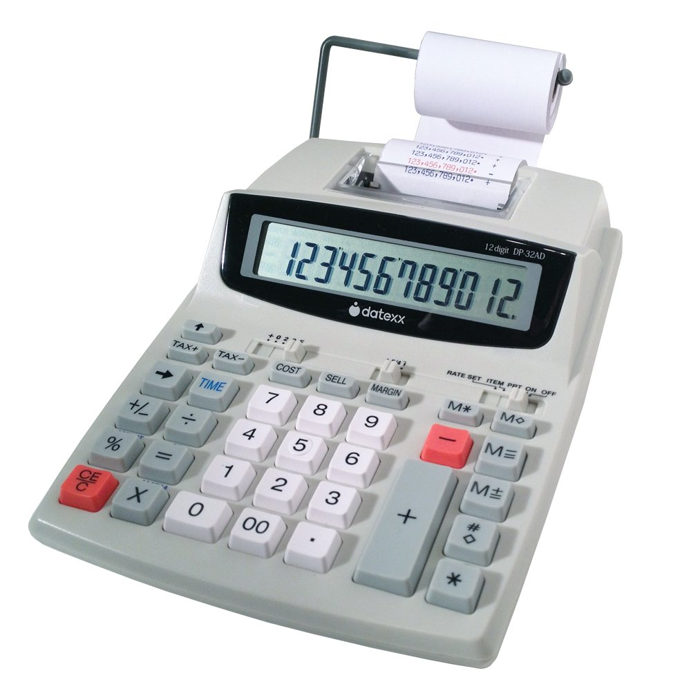 Datexx DP-32AD 12 Digit 2 Color Printing Calculator with AC/DC Adaptor
