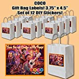 Coco Disney Movie Stickers, Party Favors Supplies Decorations Gift Bag Label STICKERS ONLY 3.75'' x 4.75'' Miguel Hector -12 pcs dia de los muertos day of the dead