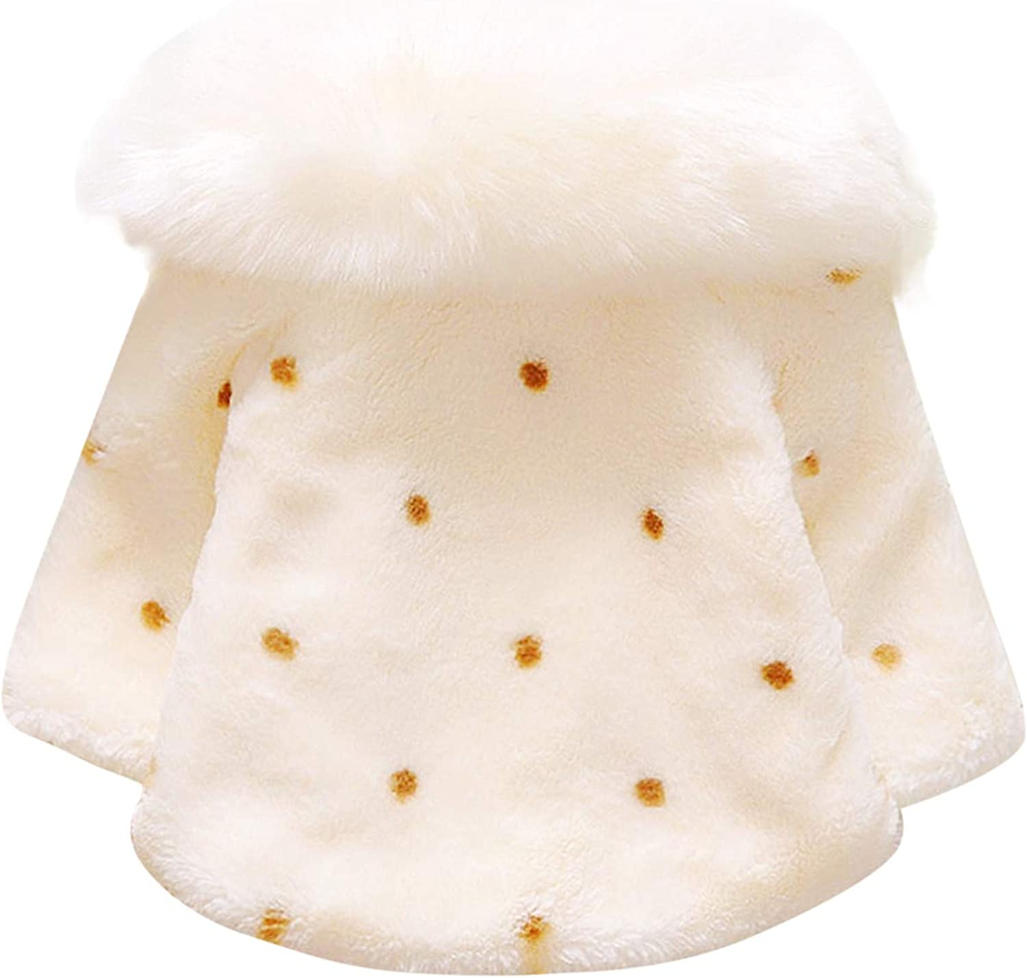 De feuilles Baby Jacke Fell Kragen Pelzkragen Coat Warm Weich Winterjacke Warm Outwear Faux Pelz Warm Winter Cape Cloak Mantel Outwear mit Perlen Bommeln Schleifen Wintermantel