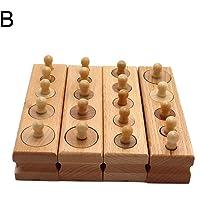 FnieYxiu Toys, Wooden Montessori Teaching Cylinder Socket Blocks Children Kids Educational Toys