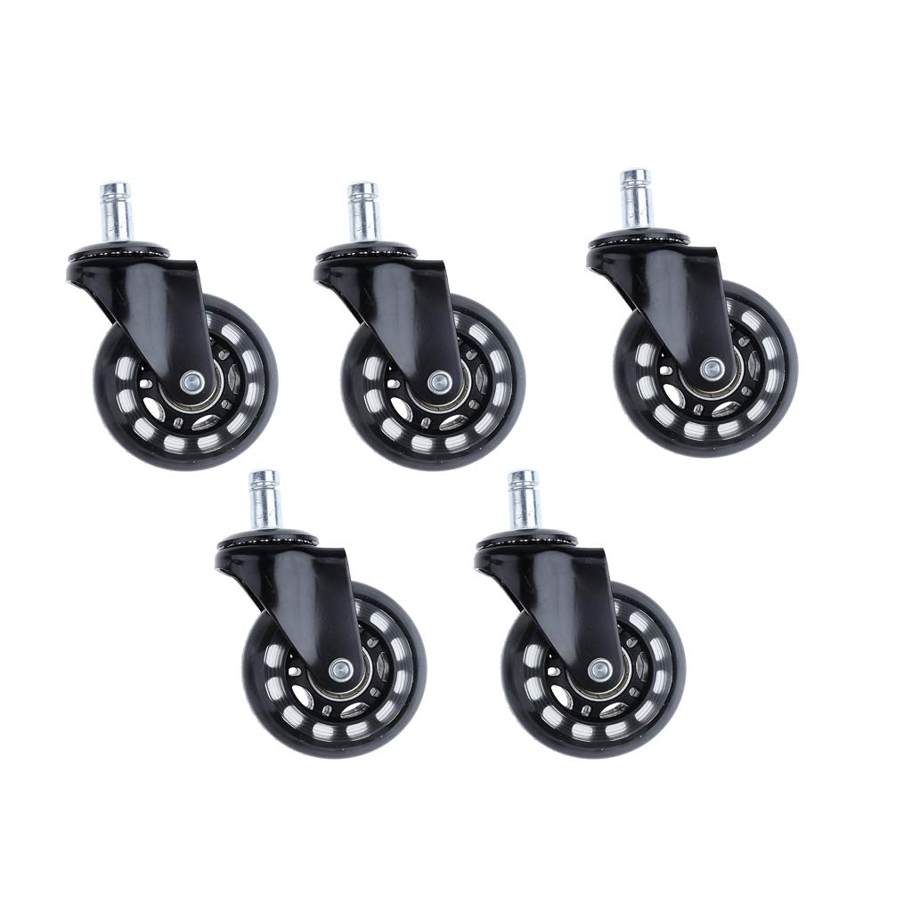 D DOLITY Pack of 5 Pcs 2.5 inch Swivel Plate Caster Wheels PU Rollers for Home Business Carts