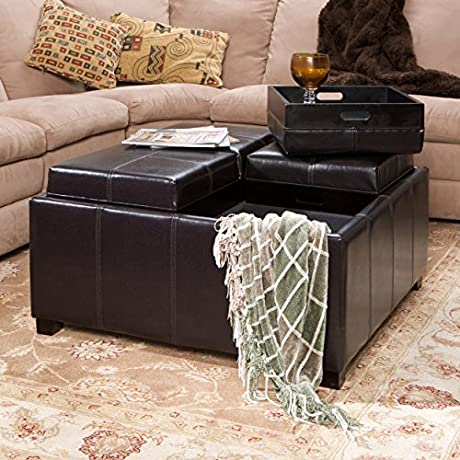 Harley Four Sectioned Espresso Leather Cube Storage Ottoman