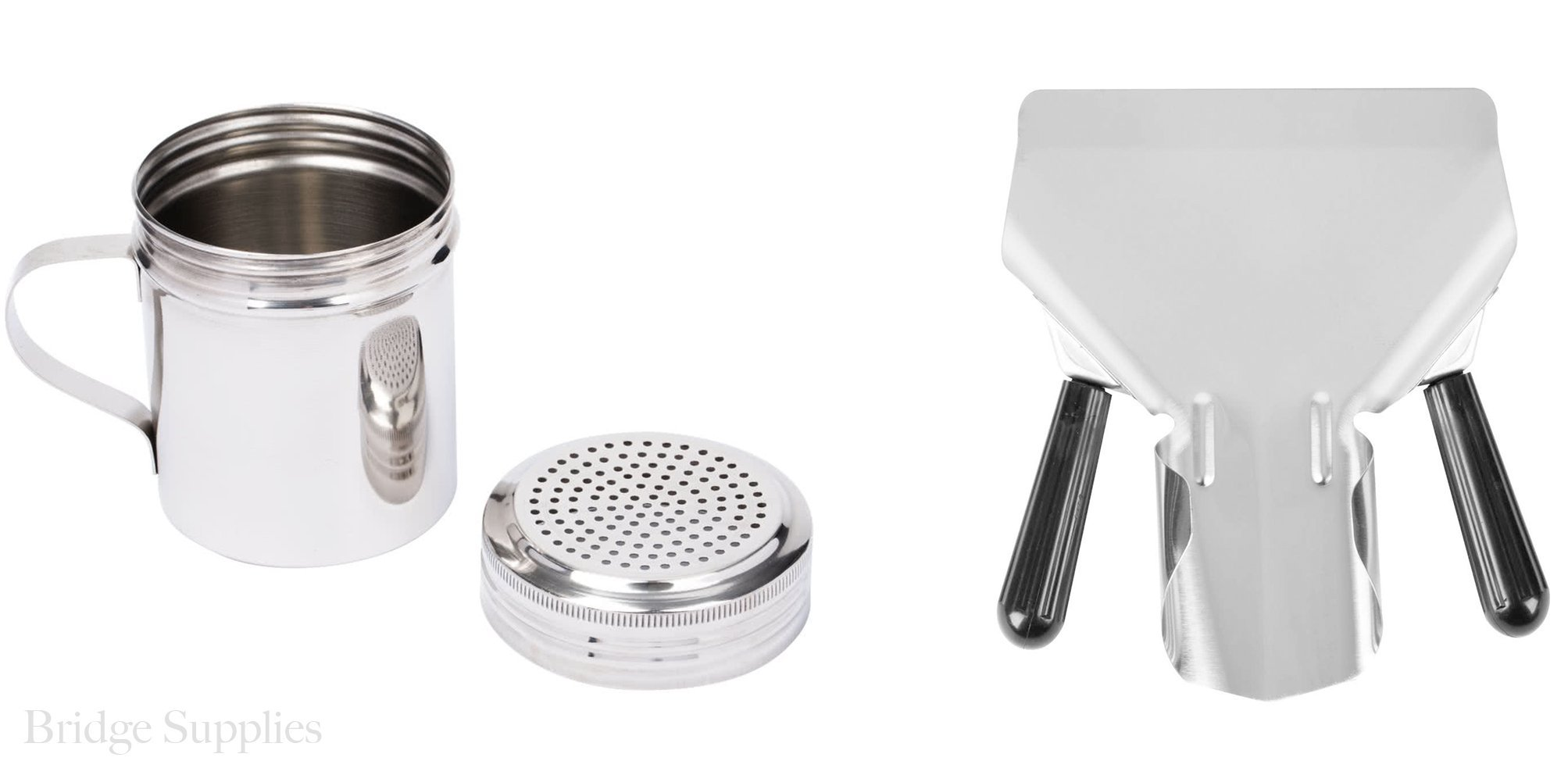 Combo Stainless Steel Dredge 10-Ounce with Handle and Stainless Steel Commercial French Fry Bagger, Dual Handle. 10 Oz Shaker and Scoop Set, perfect for Popcorn and French fries