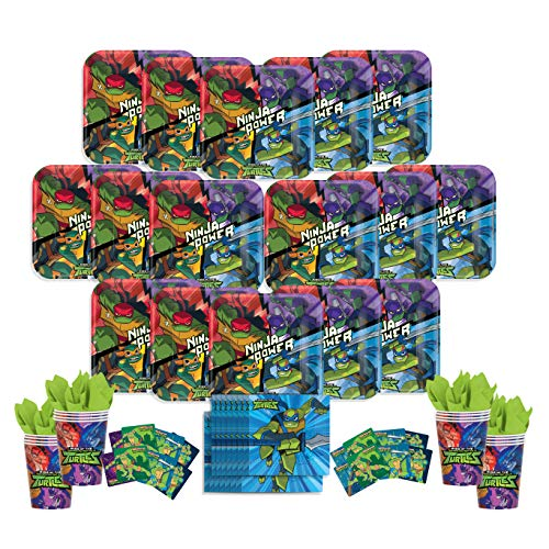 B-THERE Rise of The Teenage Mutant Ninja Turtles Party Pack - Seats 16: Napkins, Plates, Cups and Stickers - Childrens Rise of The TMNT Party Supplies -