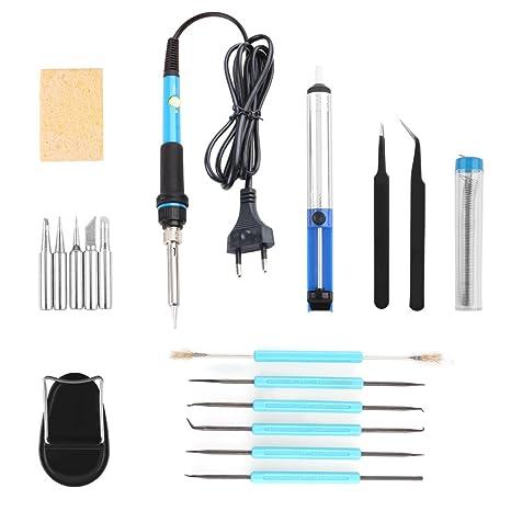 Kit del Soldador Electronica, AOZBZ 60W Soldadura de Hierro Kit Temperatura Ajustable con 5Pcs Puntas