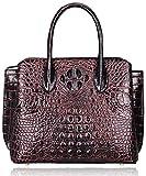 Pijushi Designer Crocodile Handbags Genuine Leather Ladies Top Handle Shoulder Bag 66332 (Black/Red)