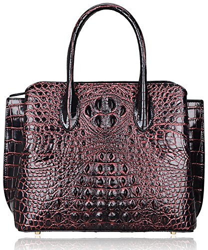 Pijushi Designer Crocodile Handbags Genuine Leather Ladies Top Handle Shoulder Bag 66332 (Black/Red)