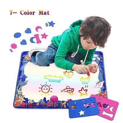 Amazon.com: Water Drawing Mat, 7-Colored Aqua Magic Doodle Kids Toys ...