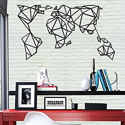 Amazon.com: DEKADRON World Map Wall Art - Geometric World Map - 3D ...