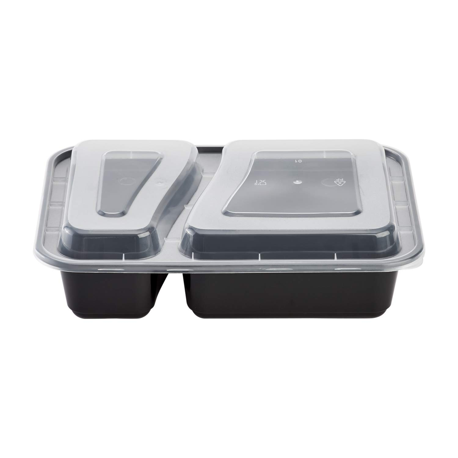 Karat IM-FC1030B-2C 38 oz. PP Injection Molding Microwaveable Food Containers with Clear Lids, 2-Compartment, Rectangular - Black (Case of 150)