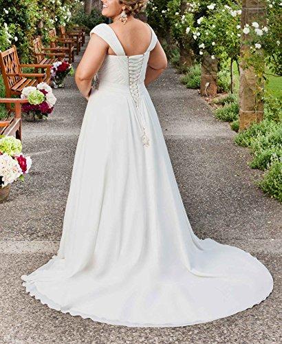 Bridal Plus Beaded Chiffon DreHouse Dresses Sleeve Cap Empire Gowns Size Ivory Women's Wedding XIxxvq8