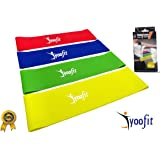 """Yoofit Resistance Loop Bands Set of 4 - WIDER LARGER 12""""x3"""" Inches Physical Therapy Band for Arms and Legs, CrossFit Workouts, Stretching or Conditioning, Extra Heavy to Light"""