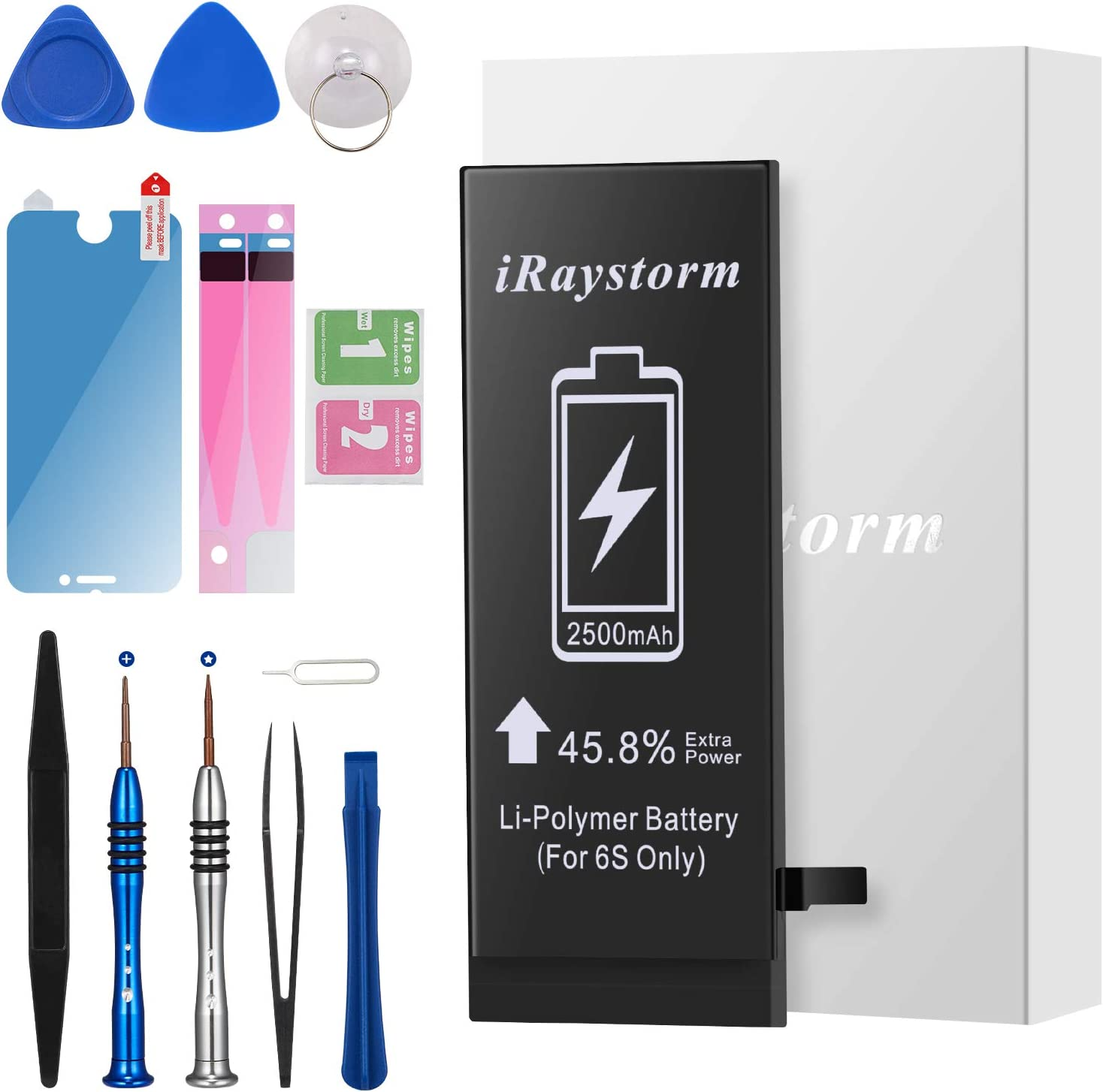 iRaystorm Battery Compatible for iPhone 6s 2500mAh High Capacity Replacement Battery New 0 Cycle with Complete Repair Tool Kit, Adhesive, Instructions & Screen Protector -2 Year Warranty 2020 Upgraded