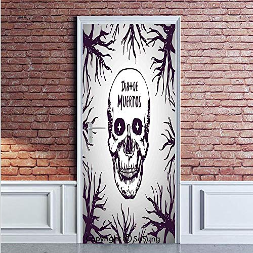 Mexican Decorations Door Wall Mural Wallpaper Stickers,Quote with Spooky Skull Head among Tree Branches Calaveral Carnival Graphic,Vinyl Removable 3D Decals 35.4x78.7/2 Pieces set,for Home Decor Purpl
