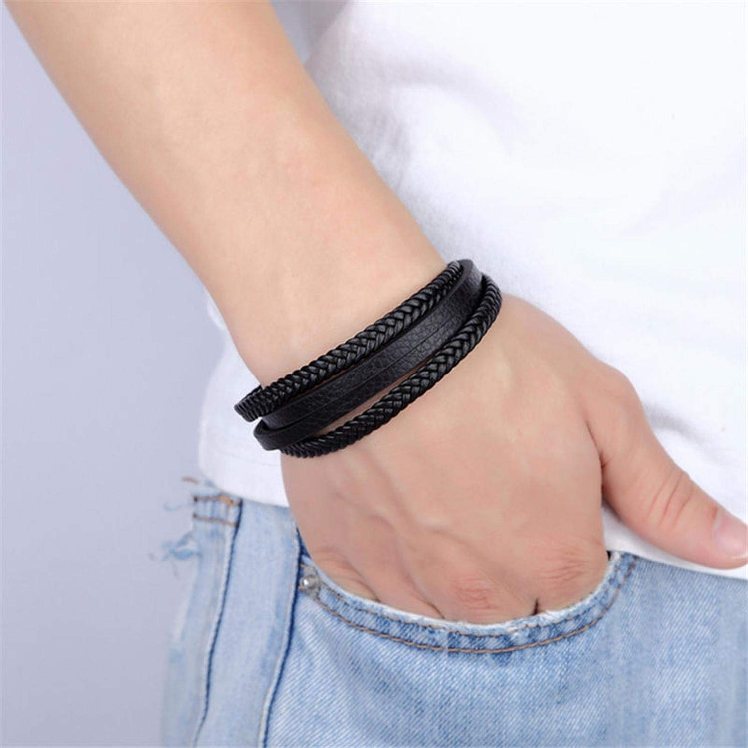 loloday Bracelet Multi-Layers Handmade Braided Genuine Leather/&Bangle Stainless Steel Bangles Gifts