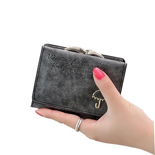b2b34d4ca6a Tri Fold Ladies Hand Purses PU Leather Women Wallets Latest Design Girl  Cash Wallets (Black
