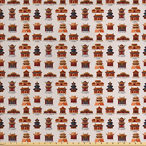 Lunarable Ancient China Decorations Fabric by the Yard, Cartoon Style Antique Houses Pattern Ethnic Asian Design Elements, Decorative Fabric for Upholstery and Home Accents, Multicolor from Lunarable