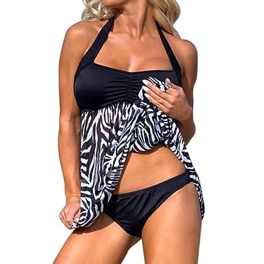 291608332e Plus Size Swimsuit, Women's Floral Retro Push-up Swim Dress Tankini Sets Two  Piece