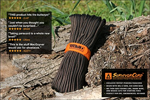 "TITAN SurvivorCord | 100 Feet | Patented Military Type III 550 Paracord / Parachute Cord (3/16"" Diameter) with Integrated Fishing Line, Fire Starter, and Snare Wire. FREE Paracord Projects eBook."