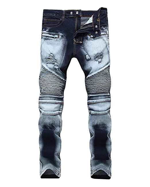 DaiHan Hombre Ajustados Pantalones Vaqueros Biker Jeans de ...