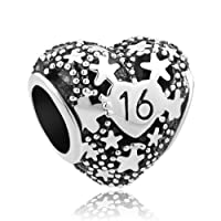 Charmed Craft 16-Year-Old Happy Birthday Heart Charm New Jewelry Fits Pandora Charms Bracelet For Women Girls Gifts