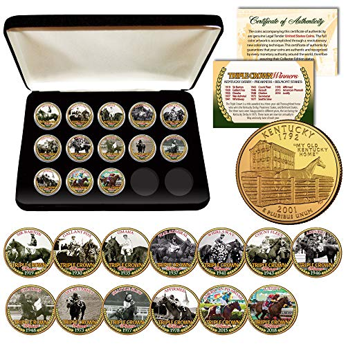 2018 TRIPLE CROWN HORSE WINNERS 24K Gold KENTUCKY Quarters 13-Coin Set BOX & COA