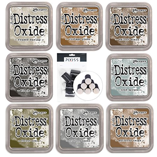 Ranger Distress Oxides Ink Pad 8 Color Bundle Walnut Stain, Gathered Twigs, Frayed Burlap, Vintage Photo, Iced Spruce, Hickery Smoke, Black Soot, Forest Moss with 6 Piece Pixiss Daubers
