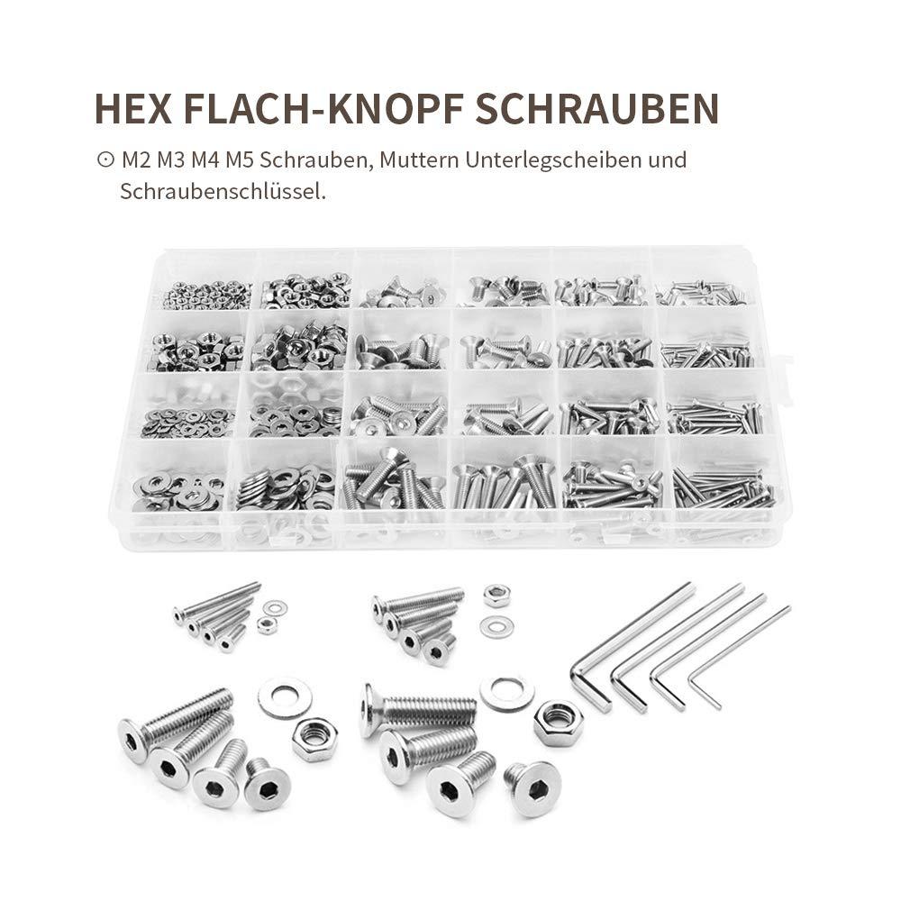 880 Pcs M2 M3 M4 M5 Edelstahl Schrauben set Hex flach-knopf schrauben Muttern und Scheiben Sortiment Kit