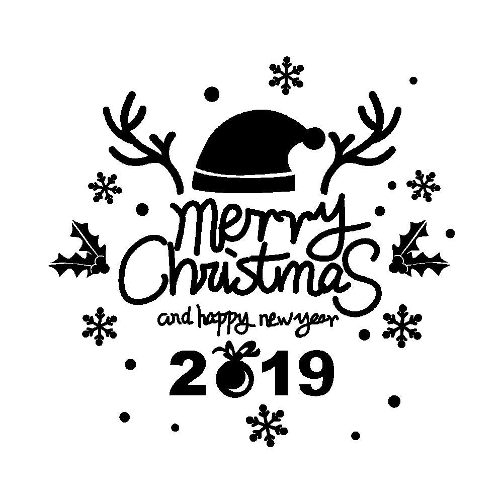 Unpara New Year Merry Christmas 2019 Letter Wall Stickers Decorative Mural For Bedroom Living Room TV Walll (Black)