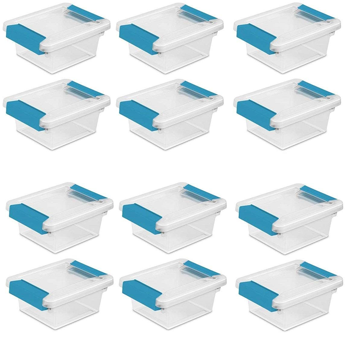 Sterilite 19698606 Mini Clip Box, Clear with Blue Aquarium Latches, 12-Pack