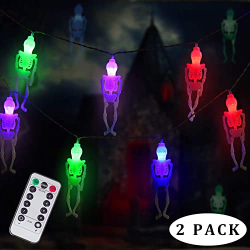 DAYLIGHTIR Ghost Skeleton Lights Halloween String Lights, 2PACK 15LED Remote-Control Baterry-Powered Perfect Halloween Decoration for Outdoor, Indoor, Garden, Yard, Tree, Party 2, Multicolor