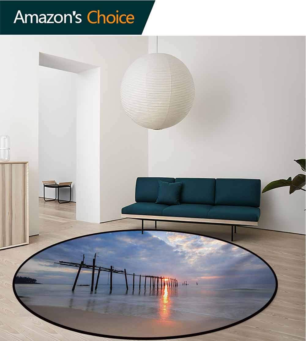 RUGSMAT Landscape Machine Washable Round Bath Mat,Sunbeams and Old Bridge at Pilai Beach Sunset Thailand Tropical Seascape Picture Non-Slip No-Shedding Bedroom Soft Floor Mat,Diameter-51 Inch