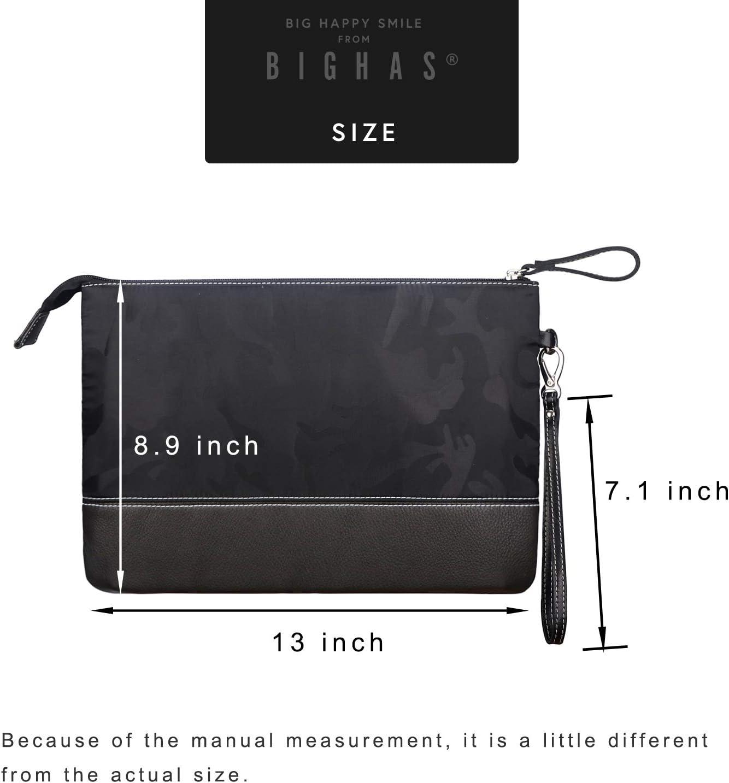 BIGHAS Mens Clutch Bag Handbag Briefcase US Letter Large Size Long Wrist Strap Nylon Genuine Leather Business Daily Commuting Zipper 2 Color Green+Brown