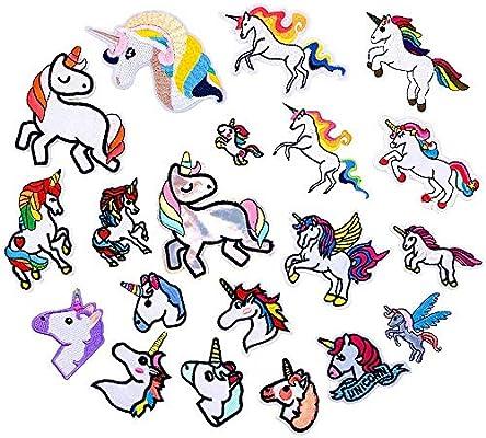 WZT 20 Pcs Unicorn Sequin Embroidered Patches Applique DIY