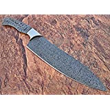 BB-456, Handmade Damascus Steel 12 Inches Full Tang Chef Knife with Stainless Steel Bolster (Blank Blade)