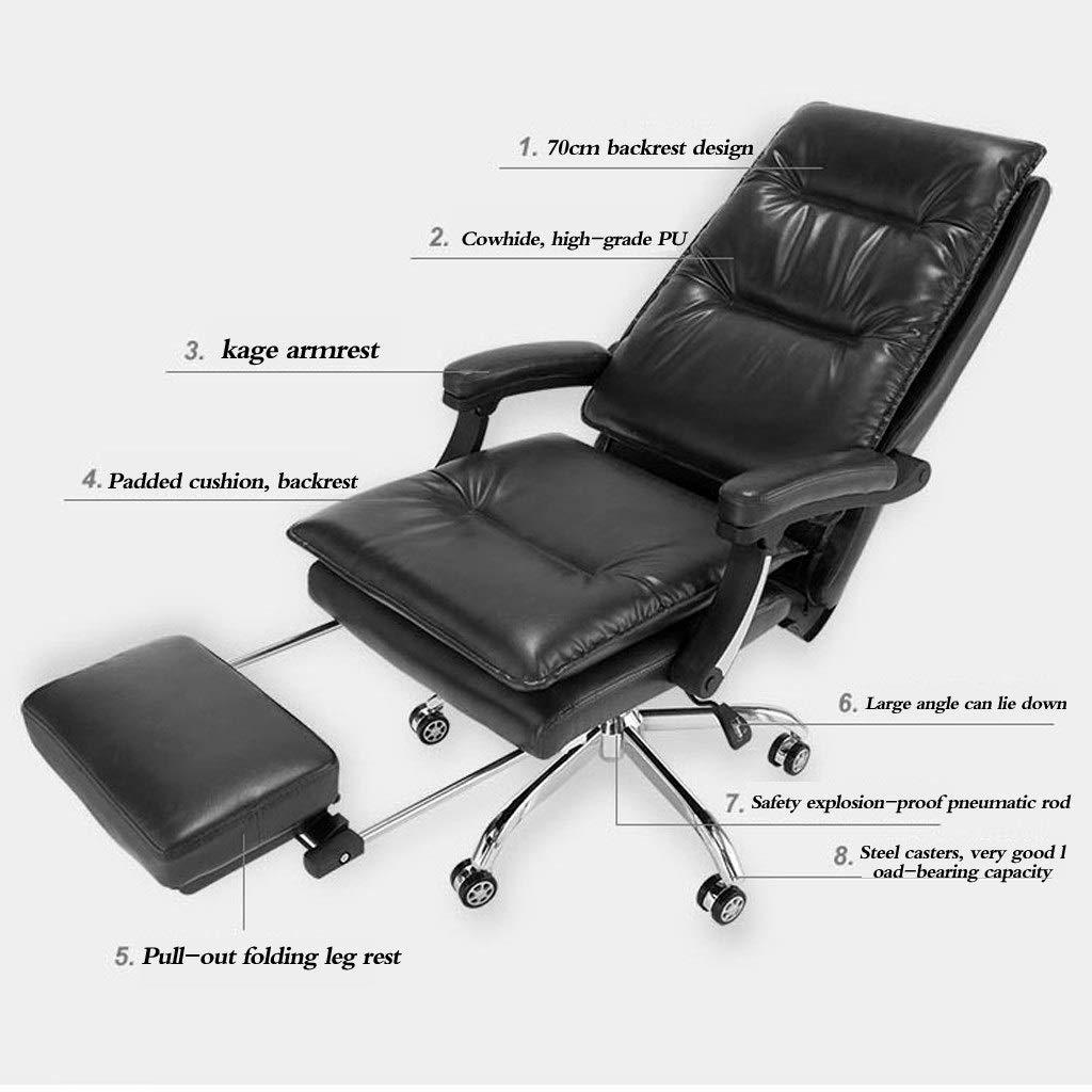 Kontorsstol chef stol svängbar stol modern minimalistisk kontor lounge stol liggande arbetsrum datorstol kan höjas och sänks kan rotera 360° Brun Svart