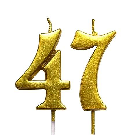 Amazon.com: Magjuche - Vela de cumpleaños número 47 con ...