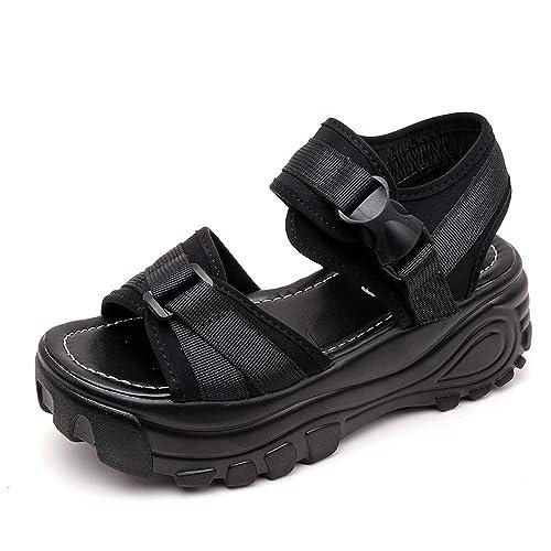 Sandalias de Vestir Tacón Altas Plataforma Cuña para Mujer Verano Primavera 2019 PAOLIAN Zapatillas Calzado Fiesta Elegantes Tallas Grandes Zapatos Piel ...