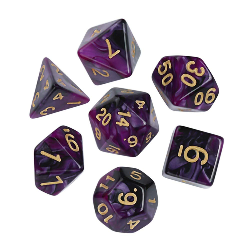 UOWEG Dice suit 7Pcs Game Polyhedral D4-D20 Multi Sided Acrylic Dice