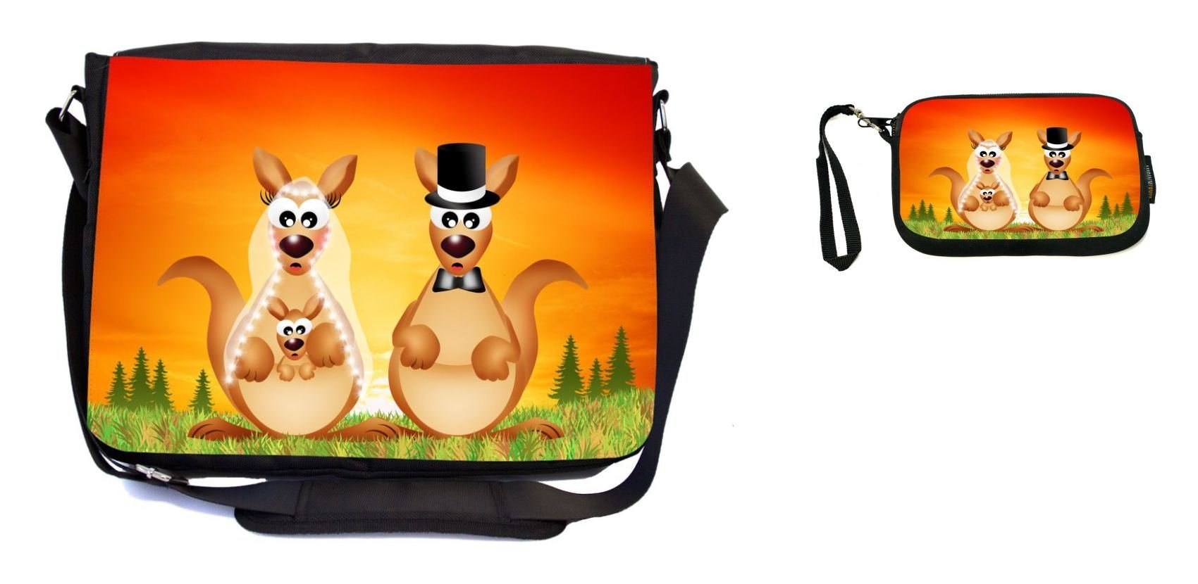 Rikki Knight Kangaroos in Love Wedding Illustration Design Messenger Bag - School Bag - Laptop Bag - with Padded Insert - Includes UKBK Premium Coin Purse