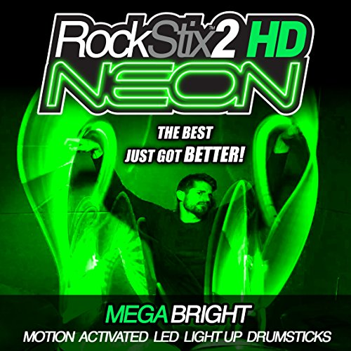 ROCKSTIX 2 HD NEON GREEN, MEGA BRIGHT LED LIGHT UP DRUMSTICKS, (CLASS A - LED with unique narrow beam for brighter color & effect) Set your gig on fire!