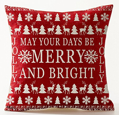 Bohemian Style Various Season's Greetings Christmas Tree Reindeer Elk Snowflakes Red Merry Christmas Gift Cotton Linen Throw Pillow Case Cushion Cover Home Decorative Square 18 X 18 Inches